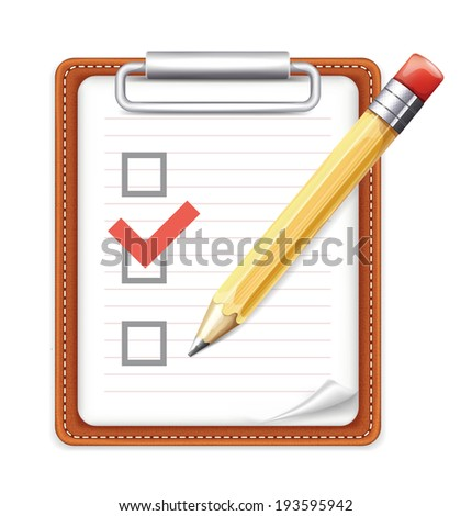 Vector Form with Pencil and Checklist Icon - stock vector