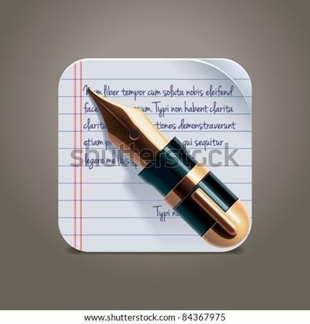 Vector fountain pen on notepad square XXL icon - stock vector