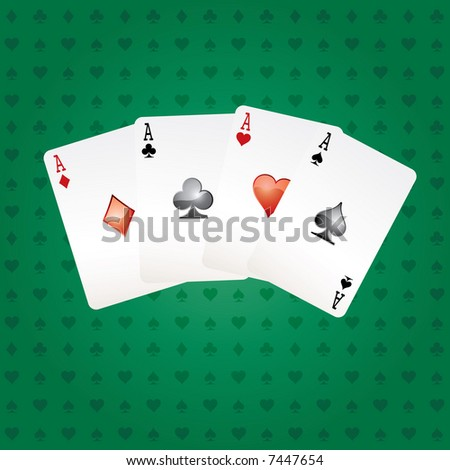 vector four aces on green table