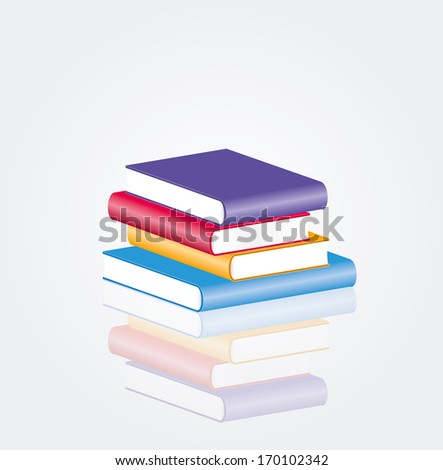 vector four blank books with reflection