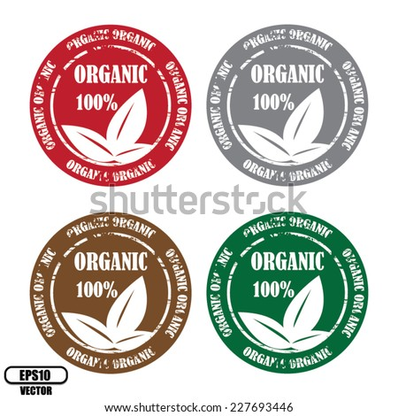 Vector: Four Color rubber stamp, label, symbol and sticker with text 100% and three leafs Organic natural product isolated on white background.  - stock vector