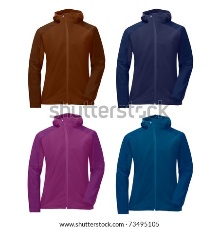vector four hoodie jackets - stock vector