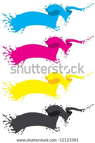 vector four liquid banner in cmyk colors - stock vector