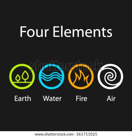 Vector Four Natural Elements Symbols Stock Vector