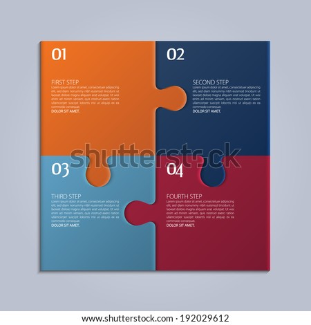 Vector four parts of puzzle. - stock vector