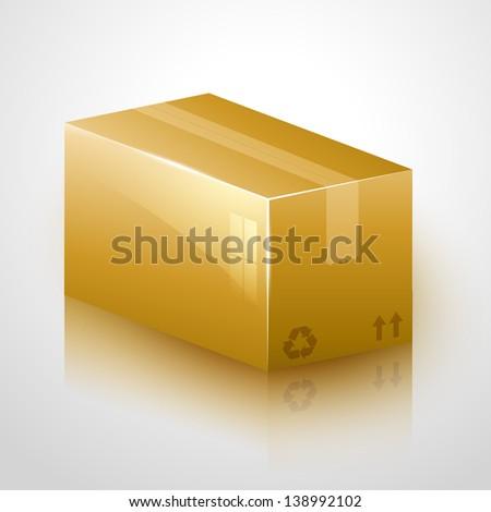 vector fragile cardboard icon design - stock vector