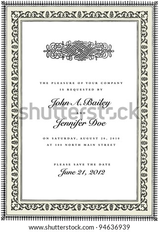 Vector Frame and Ornament. Easy to edit. Perfect for invitations or announcements. - stock vector
