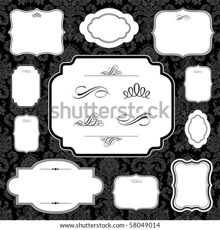 Vector frame and ornament set. Easy to scale and edit. All pieces are separated. Pattern is included as a seamless swatch. - stock vector