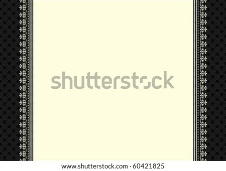 Vector frame and ornate pattern. Perfect as an invitation or announcement.  Pattern is included as seamless swatch. All pieces are separate. - stock vector