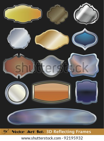 Vector Frame Art Set:  Colorful, mirrored and metallic frames and mirrors for your designs. - stock vector
