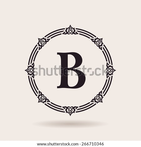 Vector frame calligraphic design emblem. Vintage labels and badges for alphabet logo quality - stock vector