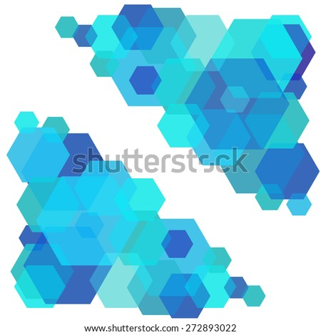 vector frame from colorful hexagons with mix colors - stock vector