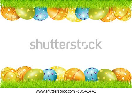 Vector frame of Easter eggs and green grass - stock vector