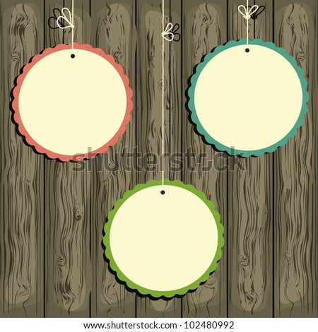 Vector frame on the wooden  background. Space for your text or picture. EPS10 - stock vector