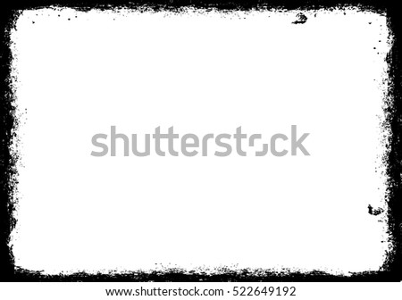 Vector Frame. rectangle for image. distress texture . Grunge Black and White border picture .