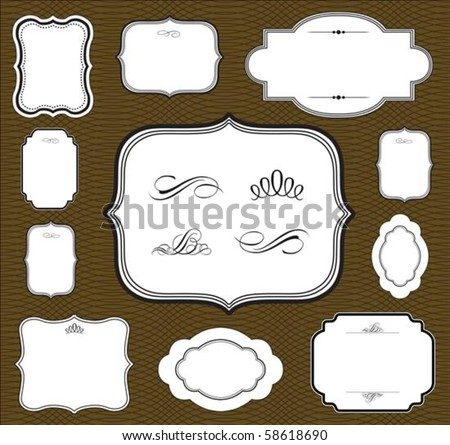 Vector frame set and seamless pattern. Seamless tile included. Easy to change colors. - stock vector