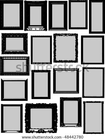Vector frame silhouettes - stock vector