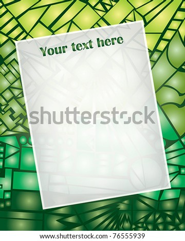 Vector - Frame with abstract ornament background green broken glass - stock vector
