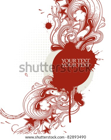 vector frame with bright red abstract plants, waves and drops - stock vector
