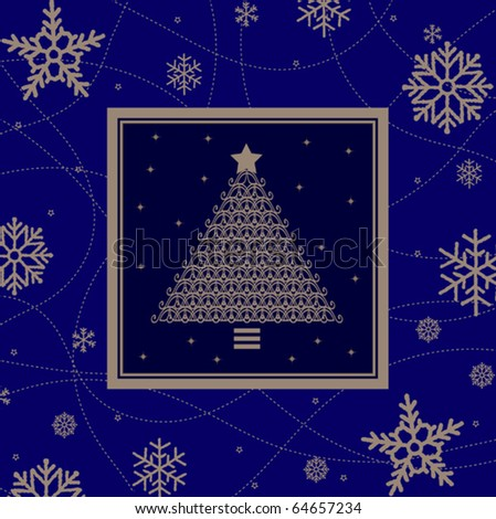 Vector frame with christmas tree - stock vector