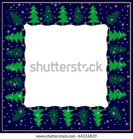 Vector frame with christmas trees - stock vector