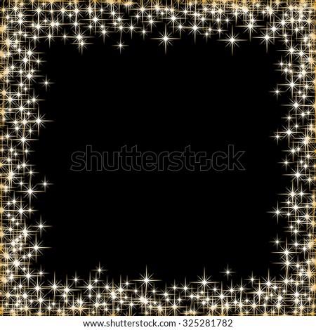 Vector frame with golden stars on the black background, sparkles golden symbols  - star glitter, stellar flare  - stock vector