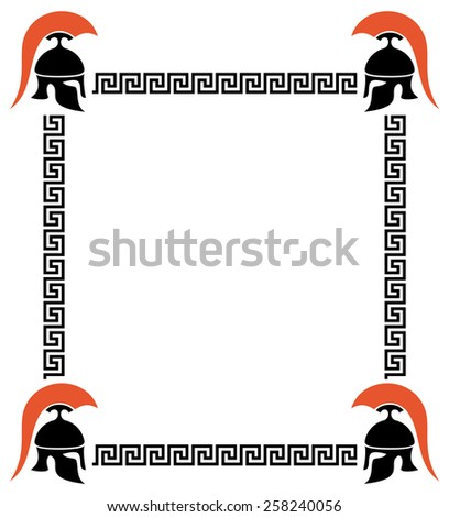 Vector frame with Greek helmets and meander - stock vector