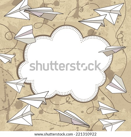 vector frame with paper planes. Vector illustration. Grunge background with drops and splashes - stock vector