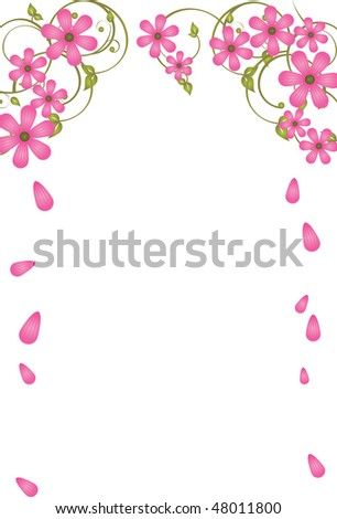 Vector frame with pink flowers