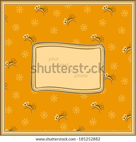 Vector frame with place for your text or photo in orange tones - stock vector