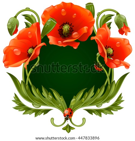 Vector frame with red poppies and ladybug in the shape of floral beast face