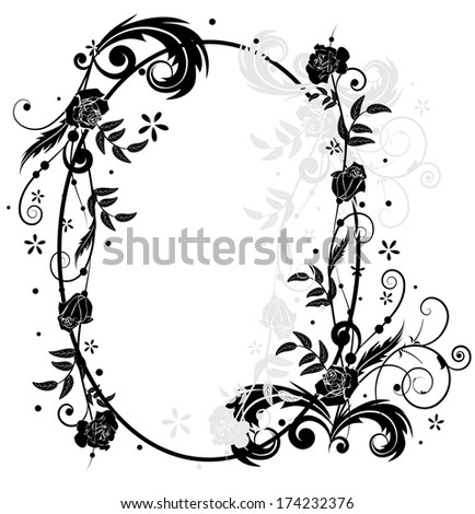 vector frame with roses  in black and white colors - stock vector