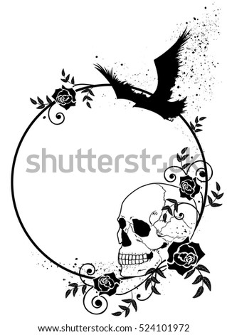 vector frame with skull, raven and roses in black and white colors