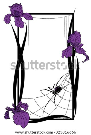 Vector frame with spider and flowers of iris - stock vector