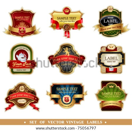 Vector frames and ornamental labels set. Easy to scale and edit. All pieces are separated. - stock vector