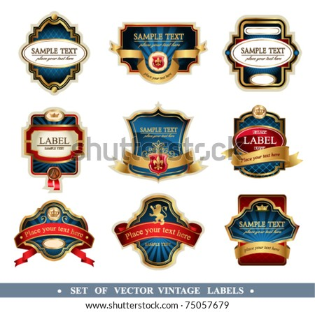 Vector frames and ornamental labels set. In blue color.  Easy to scale and edit. All pieces are separated.