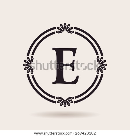 Vector frames design templates. Vintage labels and badges for logos. Alphabet letter E - stock vector