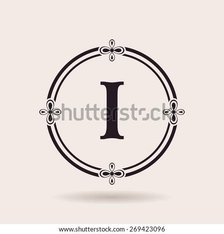 Vector frames design templates. Vintage labels and badges for logos. Alphabet letter I - stock vector
