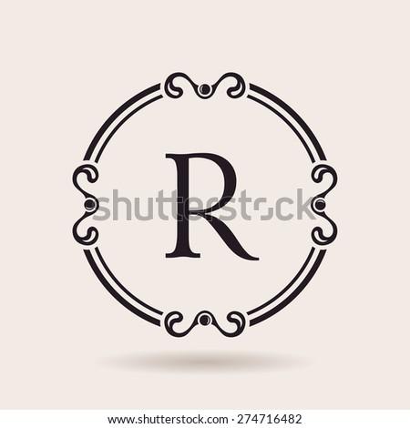 Vector frames design templates. Vintage labels and badges for logos. Alphabet letter R - stock vector