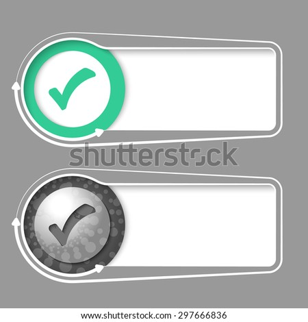 Vector frames for your text with abstract sample and check box - stock vector