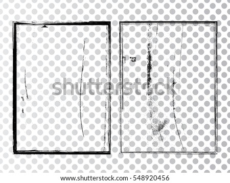 Vector Frames. rectangles for image. distress texture . Grunge Black and White borders isolated on the transparent background . Dirt , grain crack and scratch effect .