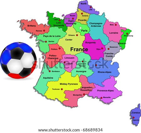 Vector France football map illustration - stock vector