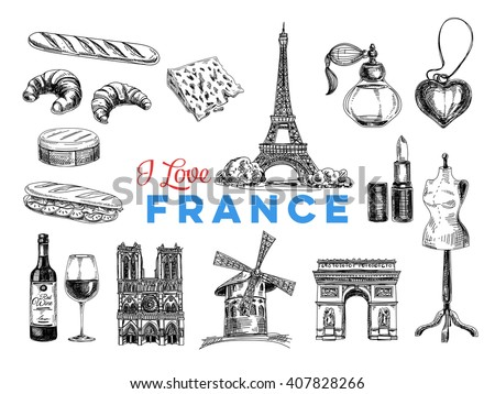Vector France hand drawn Illustration. Sketch. Vintage style. Retro background.  - stock vector