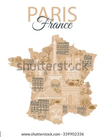 vector france map with landmark paris - stock vector