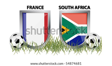 vector France vs South Africa - stock vector