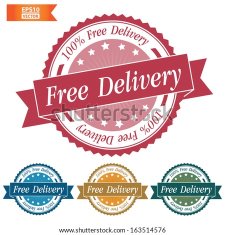 Vector: Free delivery stamp, sticker, tag, label, sign, icon with colorful set. Eps10. - stock vector