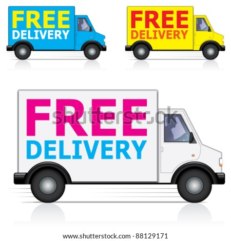 Vector free delivery van icons with male driver silhouette - stock vector