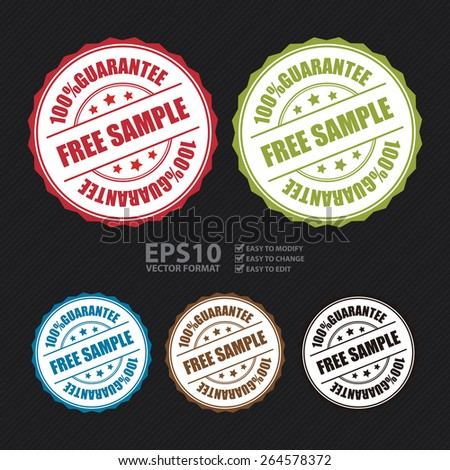 Vector : Free Sample 100% Guarantee Badge, Banner, Sign, Tag, Label, Sticker or Icon Isolated on White Background - stock vector
