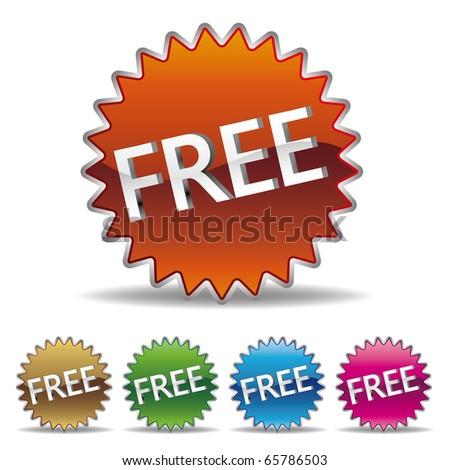vector free starburst label set - stock vector