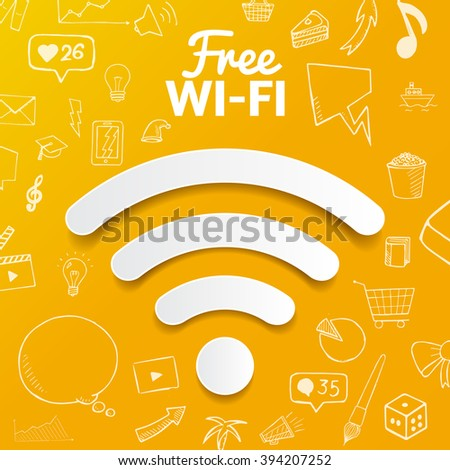 Vector free wi-fi signal on background with doodle elements, hand drawn object
